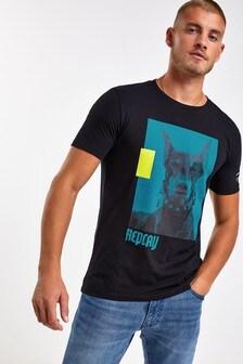 Replay® Logo-T-Shirt mit Hunde-Druck