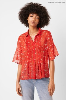 French Connection Red Delmira Floral Crinkle Pintuck Shirt