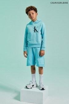 شورت رياضي أزرق بشعار منCalvin Klein Jeans