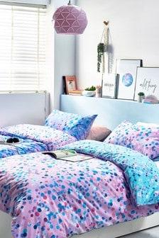 2 Pack Bright Watercolour Spots Duvet Cover and Pillowcase Set
