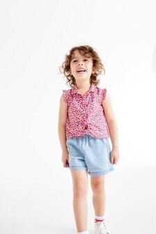 Блузка с принтом и завязками спереди (3 мес.-7 лет)