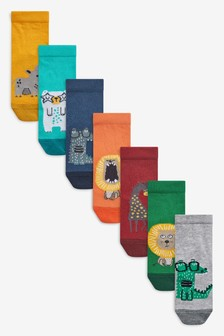7 Pack Cotton Rich Animal Socks (Younger)