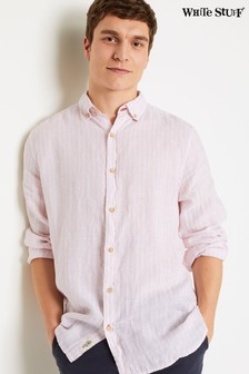 قميص كتان وردي مقلمParallel منWhite Stuff