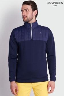 Синий топ с молнией Calvin Klein Golf Vardon Hybrid