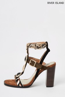 River Island Brown Hardware Block Heel Gladiator Sandals