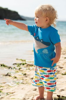 Frugi® Blue GOTS Organic T-Shirt With Manta Ray Appliqué