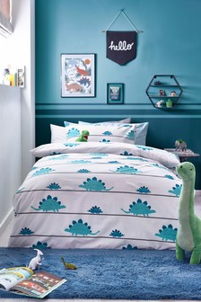 Dino Stripe Duvet Cover and Pillowcase Set