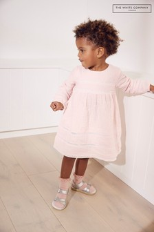 The White Company粉色皺皺棉蕾絲設計連衣裙