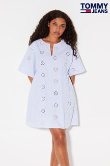 Niebieska sukienka Tommy Jeans Summer w stylu kaftanu
