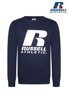 סוודר עם צווארון עגול ולוגו של Russell Athletic