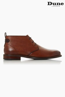 Dune London Marching Brown Leather Lace-Up Chukka Boots