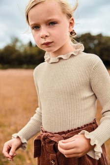 Knitted Frill Neck Top (3-16yrs)