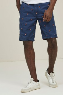 FatFace French Blue Cove Parrot Embroidered Shorts