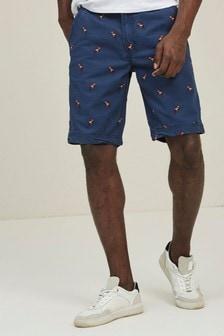 FatFace Cove Shorts mit Papageienstickerei, französisch-blau