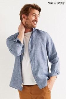 White Stuff Blue Rigging Grandad Linen Shirt