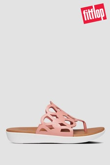 FitFlop™ Pink Elodie Entwined Loops Leather Toe Post Sandals