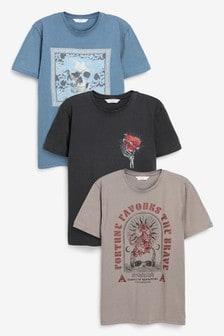 圖案T恤三件裝