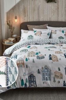Blue 100% Cotton Skandi Winter Duvet Cover and Pillowcase Set