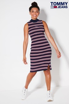 Tommy Jeans Blue Side Slit Stripe Dress