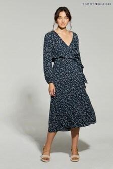 فستان أزرق ملفوفRaya منTommy Hilfiger