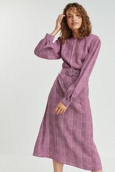 Платье миди в клетку с поясом