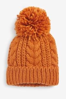 قبعة للشتاء مضلعة خامة سميكة (الأطفال الكبار)