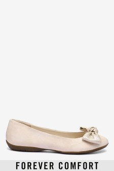 Forever Comfort® Leather Bow Ballerina Shoes