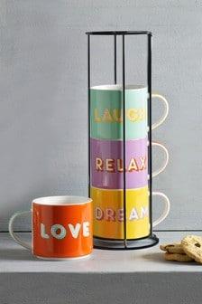 Set of 4 Slogan Stacking Mugs