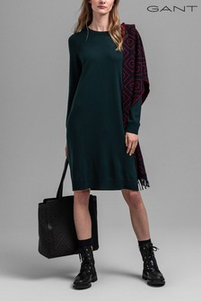 GANT Green Tartan Green Merino Wool Knitted Dress