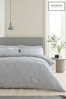 Bianca Honeycomb Texture Cotton Duvet Cover and Pillowcase Set