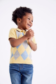 Knitted Argyle Pattern Polo Shirt (3mths-7yrs)