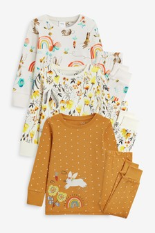 3 Pack Appliqué Bunny Cotton Snuggle Pyjamas (9mths-8yrs)
