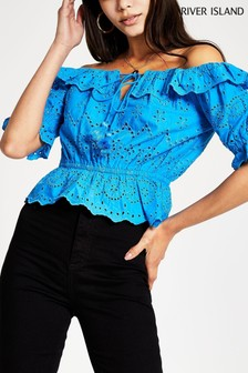 River Island Blue Bright Short Sleeve Broderie Bardot Top