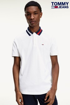 Tommy Jeans White Flag Collar Polo