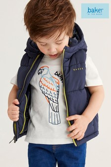 Baker by Ted Baker Boys Navy Quilted Hooded Gilet