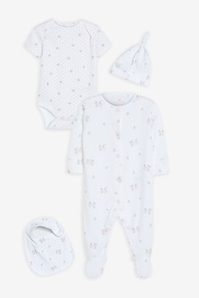 GOTS Organic Bunny Sleepsuit, Short Sleeve Bodysuit, Bib and Hat Set (0-9mths)