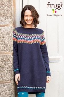 Frugi GOTS Organic Blue Fairisle Pattern Knitted Maternity Dress