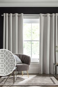 Woven Geo Eyelet Lined Curtains