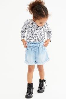 Pantalones cortos paperbag con cinturón anudado (3 meses-7 años)