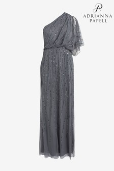 Adrianna Papell Blue Long One Shoulder Beaded Dress