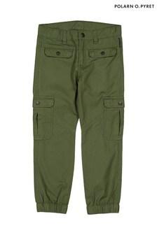 מכנסיים ארוגיםשל Polarn O. Pyret מבד אורגני באישור GOTS בצבע ירוק