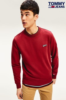 Tommy Jeans Red Washed Corp Logo Sweatshirt
