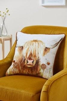 Подушка с изображением шотландской хайлендской коровы