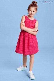 Tommy Hilfiger Kleid mit Lochstickerei, Rot