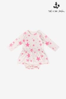 Różowy kompletNoé & Zoë Neon w gwiazdki: body i spódniczka