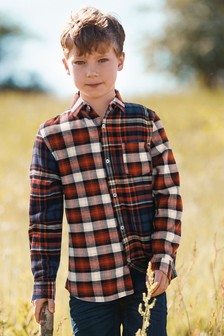 Check Spliced Long Sleeve Shirt (3-16yrs)