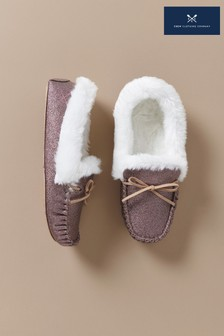 Crew Clothing Pink Moccasin Slippers