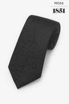 Moss 1851 Black Floral Swirl Tie