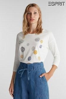 חולצתטי עם שרוול ארוך בצבע טבעי והדפס לנשים שלEsprit