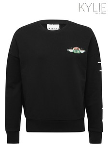 Kylie Friends Klassisches Sweat-Top, Schwarz
